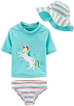 Carter's 3 Piece Little Girls Swimsuit, Rash Guard, Hat (Unicorn, 4/5)