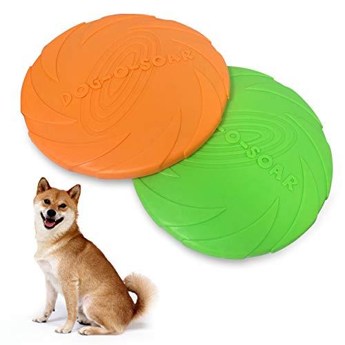 BoloShine Perros Interactivos Frisbee, 2 Pcs Frisbee Perro Juguete de Disco Volador para Perro, Juguete para Masticar Mascotas de Goma para Adiestramiento de Perros Juguetes de Tiro Captura