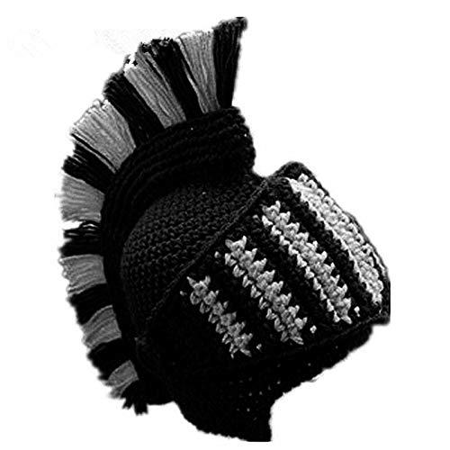 Lustige Ritter Helm Mütze Mit Bart Maske Geschenk Hut Handgemachte Gestrickte Winter Dicke Mütze-winddichte Strickmütze,D-Adult57-59cm