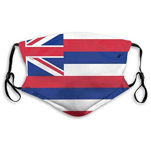 Waschbare Mundbedeckung aus PET-Stoff, Staubtuch, schönes Muster, Erwachsene, Outdoor, verstellbare Gesichtsbedeckung, mit 2 Filtern, Hawaii-Staatsflagge