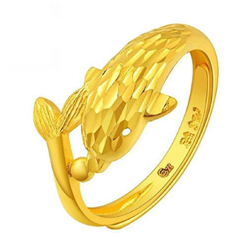 GOWE 24 K Pure gold guardian I delfini Living circle Per le donne anello oro personalità Unico bella piccoli delfini 999 solido BEAUTY