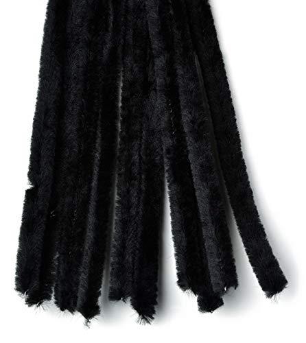 Rayher 5210601 Fil chenille, noir, 10 pces, 50cm X 9mm, art créatif, enfants