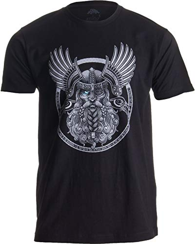 Odin | Norse Mythology God Valkyrie Valhalla Viking Raven Nordic Thor T-Shirt-(Adult,XL) Black