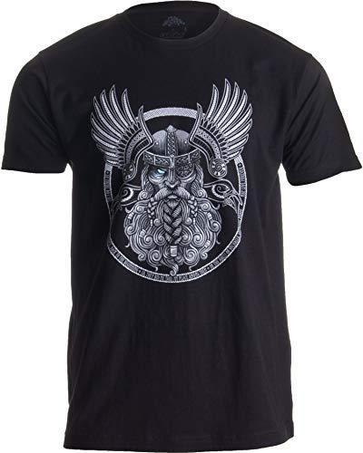 Odin | Norse Mythology God Valkyrie Valhalla Viking Raven Nordic Thor T-Shirt-(Adult,XL) Black
