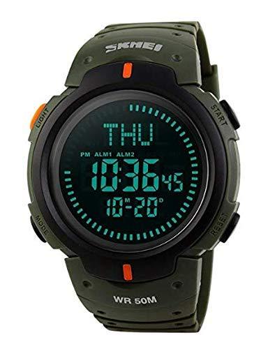 Herren Digital-Sportuhr, OLED-Bildschirm, Militär-Stil, Survival-Armbanduhr, wasserdicht