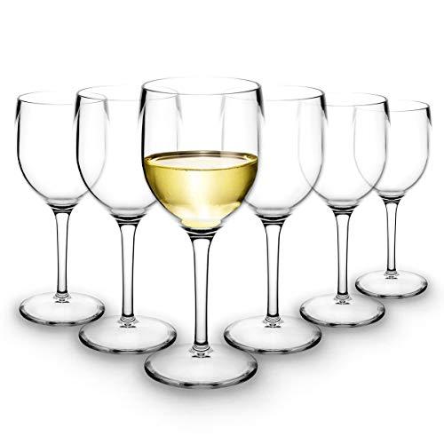 RB Calici da Vino Bianco Plastica Premium Infrangibile Riutilizzabile 20cl, Set di 6