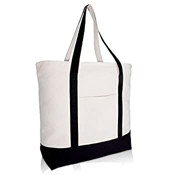 DALIX 22  Large Cotton Canvas Zippered Shopping Tote Grocery Bag in Black