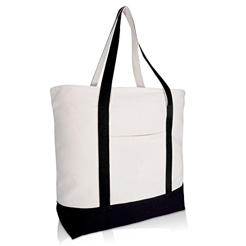 FEATURES: Large zippered shoppingTote w/Front open pocket MATERIAL: 12 oz High Quality Cotton Canvas. SIZE: 22 inches (Length) X 16 inches (Width) X 6 inches (Depth COLORS: Black/Natural INTENDED USE: Shopping Tote, Reusable, Picnic Bag, Everyday Car...