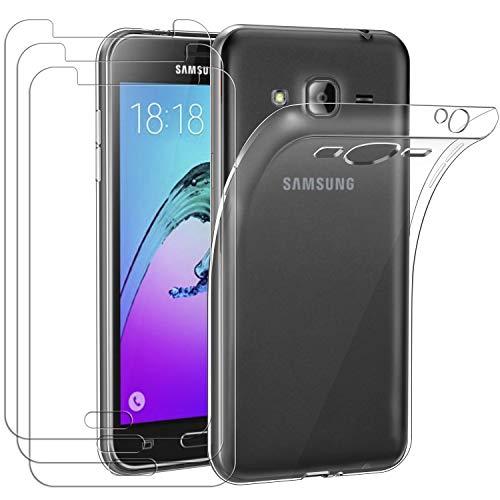 ivoler Funda para Samsung Galaxy J3 2016, con 3 Unidades Cristal Templado, Transparente Suave TPU Silicona Carcasa Protectora Anti-Choque Caso Delgada Anti-arañazos Case