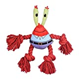 Nickelodeon SpongeBob SquarePants Mr. Krabs Rope Limb Plush Dog Toy | Dog Toy for SpongeBob Fans | Crab Squeaky Dog Toy for All Dogs Made from Soft Plush Fabric
