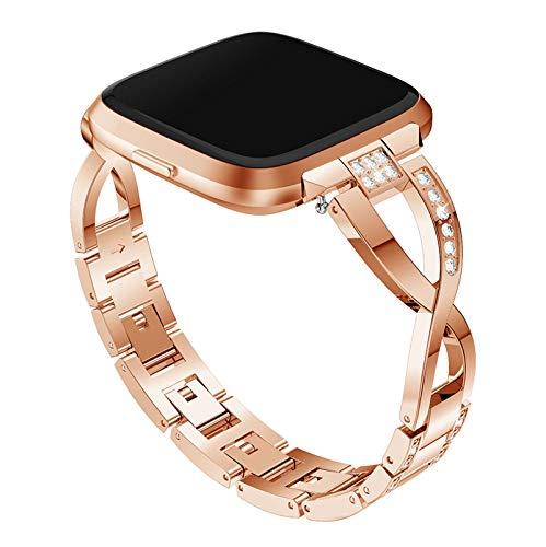 XIALEY Correa De Metal Compatible con Fitbit Versa 2 / Versa/Versa Lite, Mujer Bling Rhinestone Pulseras De Repuesto De Acero Inoxidable Banda Reloj Pulsera Compatible con Versa,Rose Gold