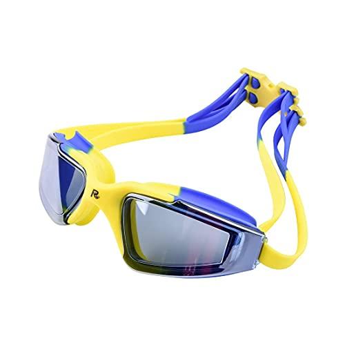 LZZB Gafas de natación Antivaho UV Gafas de natación de Silicona Profesionales para Hombres, Mujeres, Adultos, niños, Buceo, Gafas Deportivas Impermeables (Color: Azul con Amarillo)