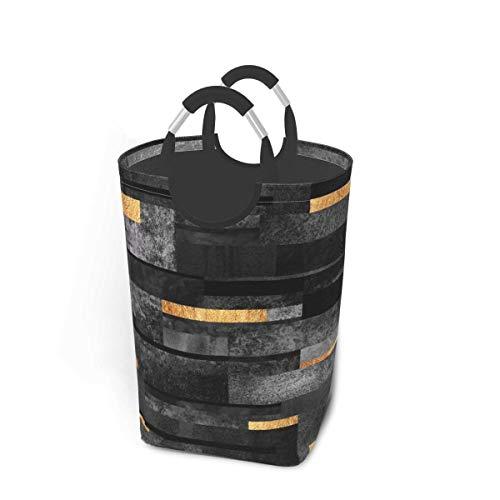 ZCHW Cesto de lavandería Papelera de Almacenamiento Urban Black Gold Gran Cesta de Almacenamiento Plegable 50L