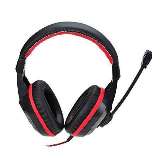 Mvlike Headset esports gaming hoofdtelefoon, desktop PC met microfoon, 3,5 mm dubbele insertie lawaai masker oorschelp 40 mm neon magneet enkele stereo, Zwart