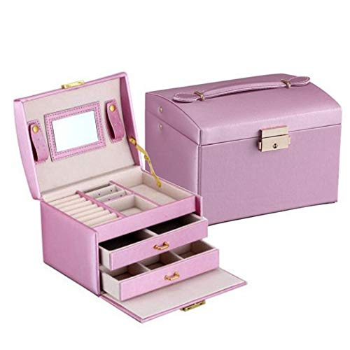 JINGAO Jewellery Box, 3 Layers PU Leather Jewellery Case Jewellery Box with 2 Drawers, Lockable with Mirror, Removable Travel Box, Storage Box for Rings, Bracelets, Earrings, Necklaces purple