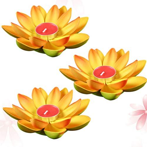 Cabilock 3 Piezas Luces de Loto Flotantes Que Deseen Bendición Velas de Lirio de Agua Luz Velas Decorativas Flotantes Linterna para Decoración de Fiesta de Año Nuevo