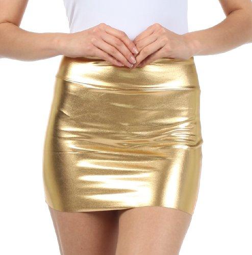 Women's Shiny Metallic Liquid Mini Skirt, Gold. S to Plus Size