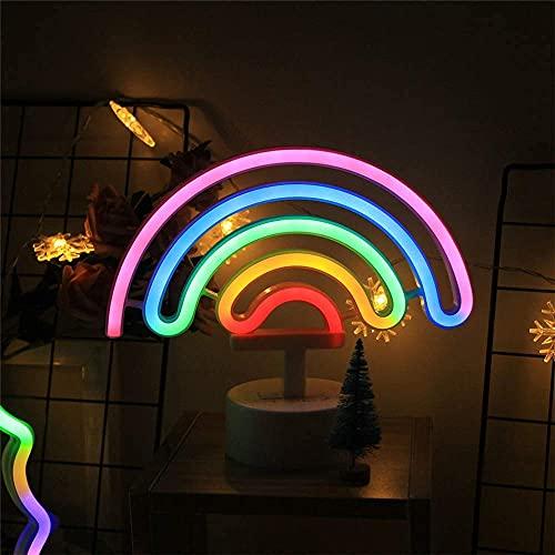 Waqihreu Luz de Noche para el hogar Linda Forma de Arco Iris Luz de Noche LED de neón Fiesta Creativa Dormitorio en casa Lámpara Decorativa para niños Adultos Niños, A, Blanco cálido