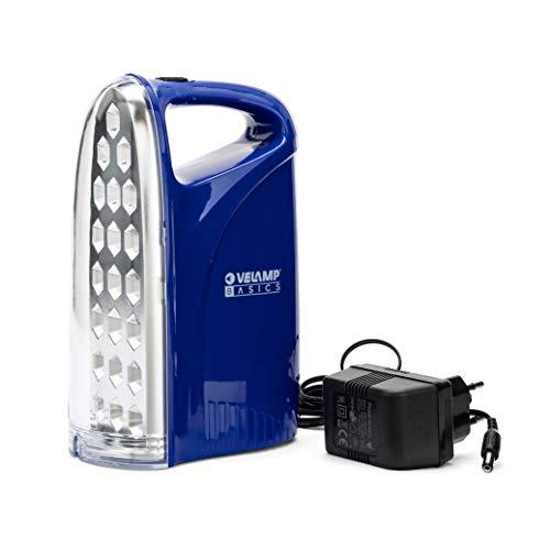 Velamp Lampada di Emergenza Portatile Ricaricabile 21 LED, 250lm Super Luminosa. con Caricatore Esterno: più sicura. Leggera e compatta, Blu