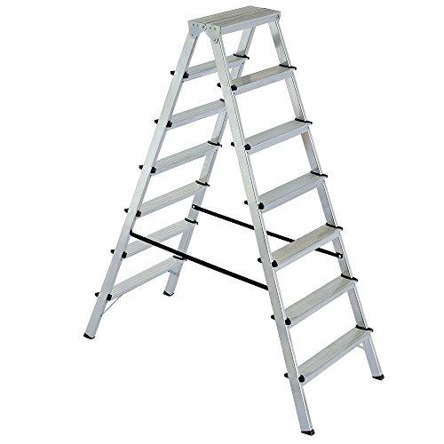 Alu-Klappleiter Doppelleiter Bockleiter Malerleiter Leiter 2x 7 Stufen, Arbeitshöhe bis 3515 mm