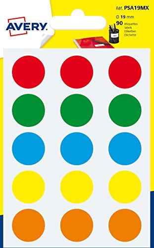 Avery Italia PSA19MX Etichette Adesive Rotonde, Multicolore, Confezione da 90 adesivi