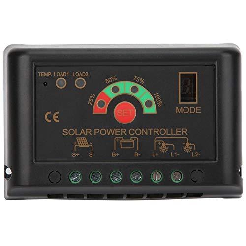 Jeanoko Controlador de energía Solar Energía Ajustable JN-S 12 / 24V PWM Controlador de energía Solar Regulador de Cargador de batería de energía Ajustable con Grado de protección IP56(JN-S 5A)