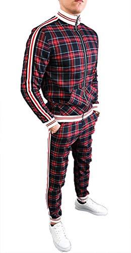 WBLKD 2 Stück Herren Trainingsanzug Outfit Plaid Long Sleeve Zipper Sweatshirt Und Hosen Set B-XL