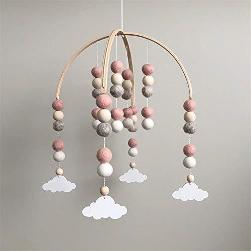 Nicole Knupfer Babybett Mobile Windspiel Rassel Spielzeug, Neugeborenen Kinderzimmer hängende Bettglocke, Holz Ornament Geschenk für Baby Mädchen oder Jungen (Dunkelrosa + weiß Wolkenanhänger)