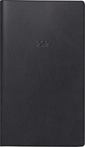 BRUNNEN 1075028901 Taschenkalender/Monats-Sichtkalender Modell 750, 2 Seiten = 1 Monat, 8,7 x 15,3 cm, Kunststoff-Einband schwarz, Kalendarium 2021