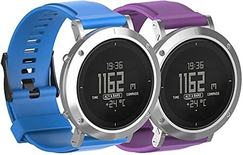 Classicase Correa de Reloj Compatible con Suunto Essential, Silicona Correa Reloj con Acero Inoxidable Hebilla desplegable (Pattern 4+Pattern 6)