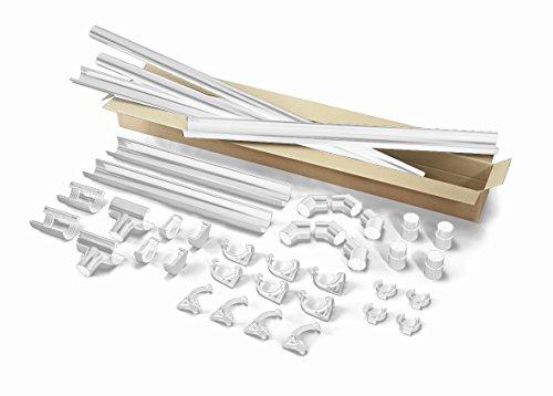 INEFA Dachrinnen Set Terrasse/Carport, 1 Dachseite, halbrund, NW100 Weiß 5m - Kunststoff, Regenrinne, Rinne, Dachrinne für Pultdach, Fallrohr, Komplettset, Zubehör