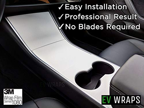 EV Wraps Tesla Model 3 Center Console Wrap - White Carbon Fiber