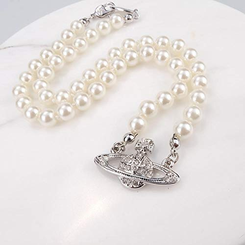 Fnho Collares de Perlas Blancas,con Diamantes de imitación de Cristal,Colgante de Saturno Brillante, Collar de Cristal Simple-C
