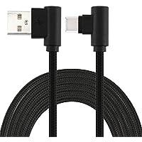 LoongGate angulod USB c Cables, Nylon Trenzado 90 Grado USB Tipo c para el Tipo a para Galaxy Note 8, S8, MacBook, LG V30 V20 G6 G5, Google pixel/2/pixel XL/2, Nexus 6P 5X-1 Metros (3,2 ft)-Negro