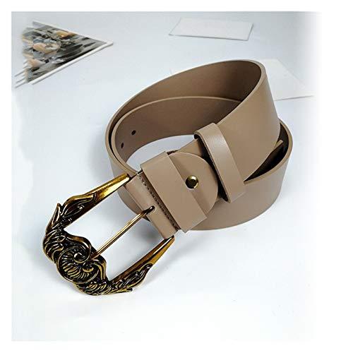 LPZW Cinturón de Vintage Talla Grande Cinturones de Cuero Genuino para Las Mujeres Que Talla la Hebilla Grande 2020 de Lujo de la Marca (Belt Length : 100cm, Color : Khaki Belt)