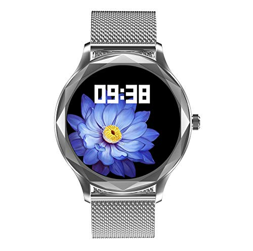 Aliwisdom Smartwatch für Damen, 1,09 Zoll Rund Fashion Smartwatch Fitness Uhr Wasserdicht Sport Armbanduhr Fitness Tracker Metallarmband Mit Whatsapp SMS-Lesefunktion für iOS Android (Silber)