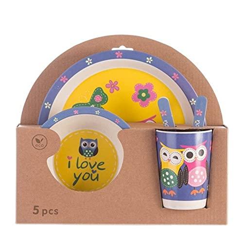 Juego de Vajilla para Niños Fibra de bambú Vajilla para niños Set Creativo Dibujos animados de tazón placa placa cuchara Tenedor Taza Copa de cinco piezas Vajilla de regalo Fácil de Usar para los Niño