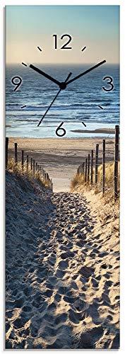 Artland Wanduhr ohne Tickgeräusche aus Glas Quarzuhr 20x60 cm Rechteckig Lautlos Strand Meer Düne Nordsee Urlaub Natur Maritim T9IP