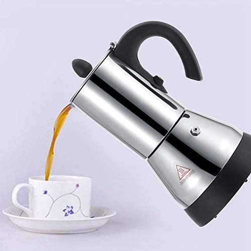 Caffettiera elettrica, 200/300ml in acciaio inossidabile elettrico caffè espresso caffettiera spina EU 220V per uso domestico cucina(300ml)