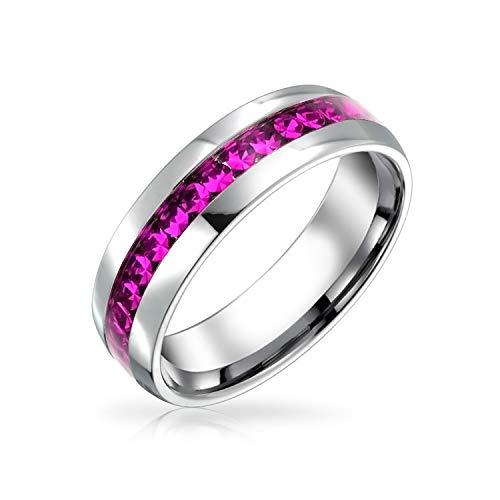 Bling Jewelry Oktober Monat Dunkel Rosa Farbe Kanal EIN Kristall Ewigkeitsring Band Für Damen Silber Getönt Aus Rostfreiem Stahl