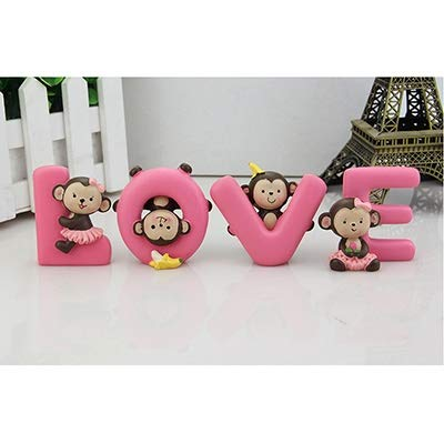 YTRQ 1 Set Modische Cartoon-Ornamente Liebes Alphabet AFFE Bananen-AFFE-Puppe-Kuss-Baby-Puppen Auto-Innen Accessoires Dekoration (Color Name : Love Monkey 6cm)