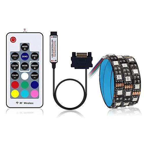 ZHANGXJ Color Interfaz de Tira del RGB LED de Luz de Diodo 60Leds Cinta Kit Completo con el Mando Inalámbrico RF para la Caja de la Computadora PC 1M Tiras LED Decoración navideña