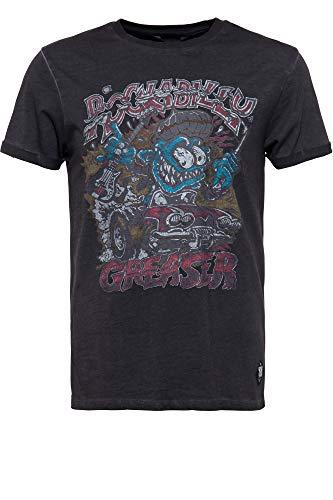 King Kerosin Herren T-Shirt | Herrenshirt | Rundhals | Oilwash | Frontprint Rockabilly Greaser