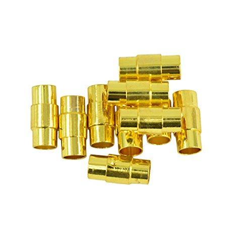 Gazechimp 10 Conjuntos Cuero-kumihimo Pegamento en Broche Magnético DIY Joyería de Encanto Color Oro - 4mm