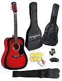 Guitare acoustique ACUSTIKA F310 - Guitare acoustique sans d�coupe de 41 (105x40x10) cm en bois - 6 cordes en acier, couleur Red Brust.