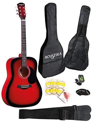 "ACUSTIKA F310 Chitarra Acustica - Chitarra Acustica no cut-away misura 41"" (105x40x10) cm in Legno - 6 Corde in Acciaio, colore Red Brust."