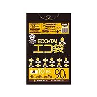 サンキョウプラテック エコ袋 90L 0.030厚 黒 10枚入×40冊 UN-92