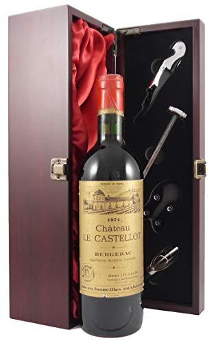 Chateau Le Castellot 1974 Bordeaux en una caja de regalo forrada de seda con cuatro accesorios de vino, 1 x 750ml