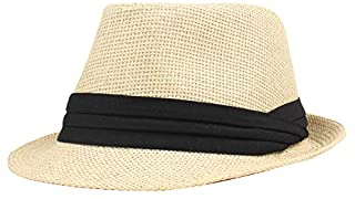 Festnight Straw Hat,Fashion Men Women Straw Hat Contrast Ribbon Fedora Curly Brim Unisex Panama Jazz Trilby Hat Cap