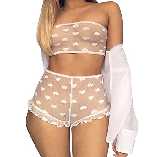2pcs Lingerie Sexy Cute Tentation Lace Suit per le donne, adatto come pigiama e biancheria intima